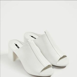 White Zara mules